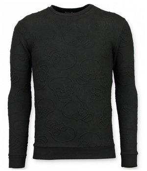 UNIMAN Skull Print Sweatshirt Männer - Death's Head Sweatshirt Herren Günstig - Schwarz
