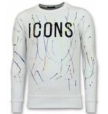 UNIMAN Paint Drop Sweatshirt Männer - ICONS Herren Sweater - Weiß