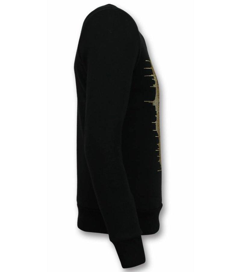 UNIMAN Rhinestone Sweater Herren - Gold Skull  Pullover mit Druck - Schwarz