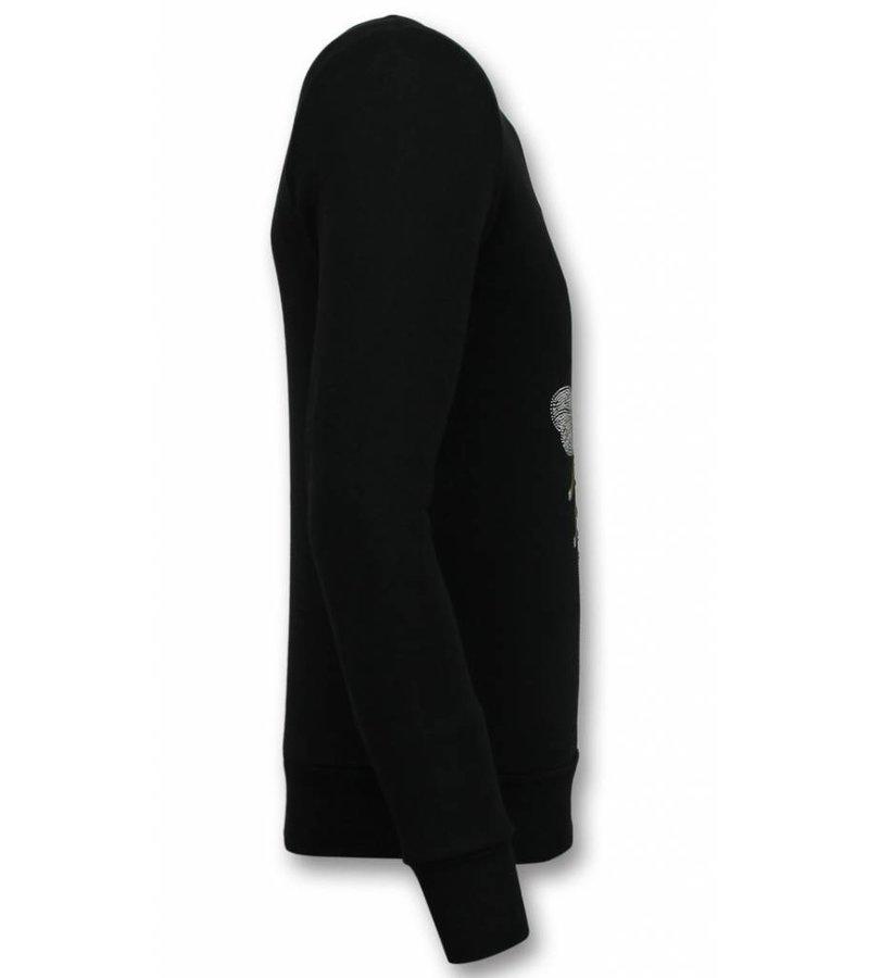UNIMAN Rhinestone Sweatshirt Männer - Royal Color Sweater Herren - Schwarz