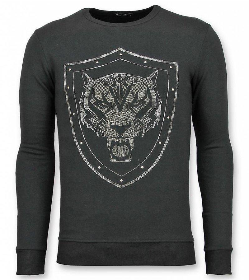 UNIMAN Rhinestone Sweatshirt Herren - Master Tiger Pullover mit Druck - Schwarz