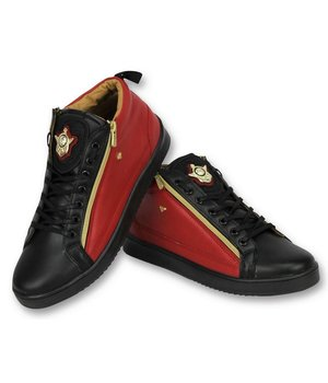 Cash Money Herren Schuhe - Herren Sneaker Bee Red Black Gold 2 - CMS98 - Schwarz / Rot