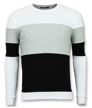 Enos Herren Pullover Günstig Kaufen - Gestreifte Pullover Männer - F7605WG - Weiß