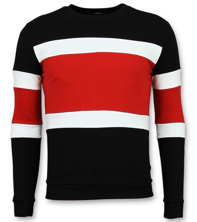 Enos Billige Pullover-gestreifte pullover herren-F7662R-Rot-Schwarz