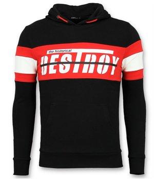 Enos Striped hoodies crewneck - Günstige hoodies herren - F-7515 - Schwarz