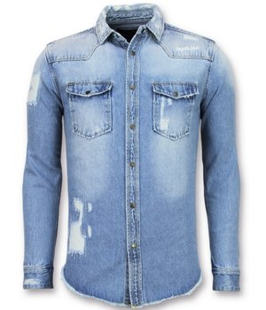 Enos Lange jeans Bluse - Denim Shirt Herren - Blau