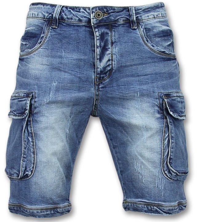 Enos Jeanshose kurz - Kurze jeans shorts herren - J-981 - Blau