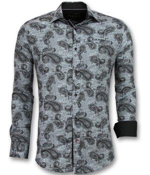 Gentile Bellini Herren business hemden günstig - Bedruckte hemden - 3002 - Schwarz