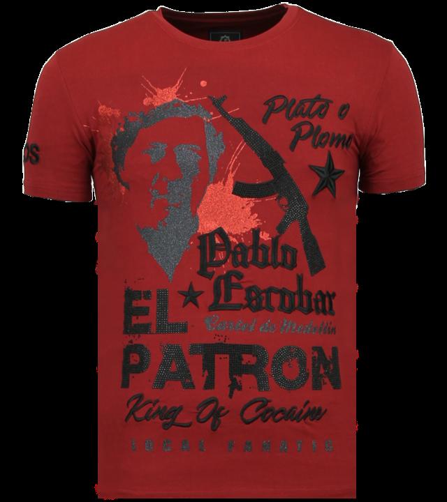 Local Fanatic El Patron Pablo - Strass T-shirt - Bordeaux
