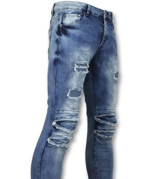 New Stone Zerrissene jeans für männer  - Biker denim jeans herren - 3002-16 - Blau