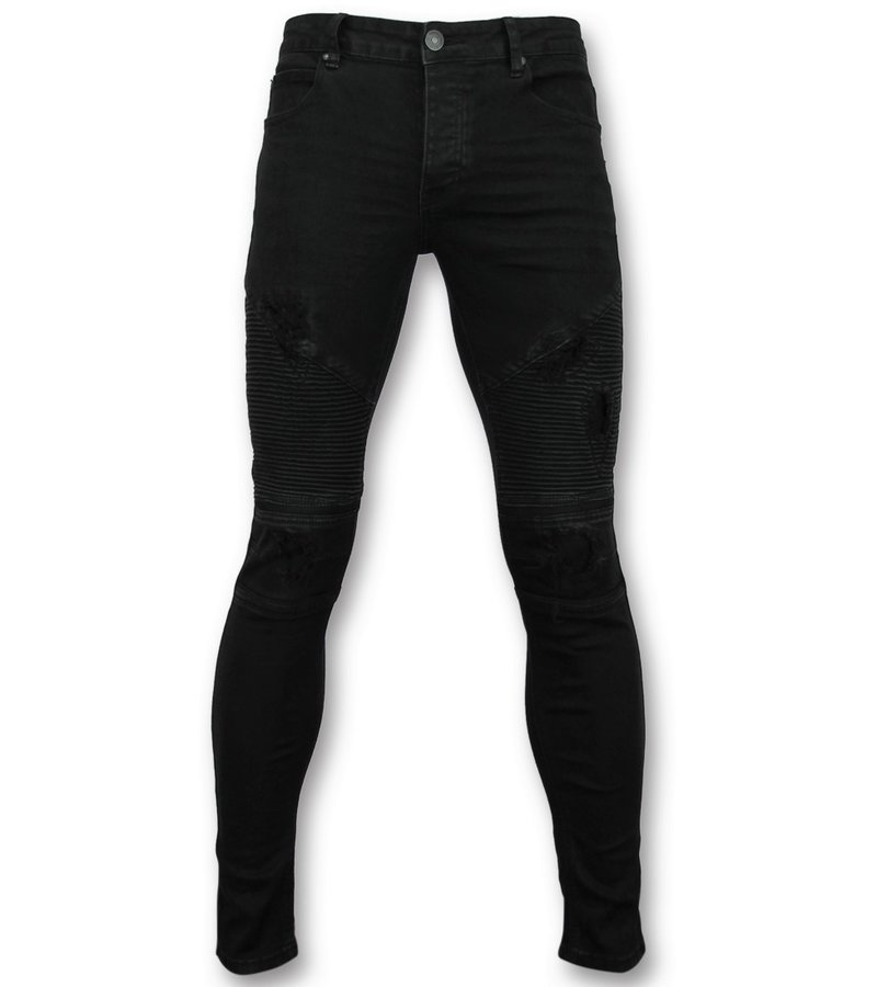 New Stone Skinny jeans männer schwarz  - Hose biker style herren - 3010-2