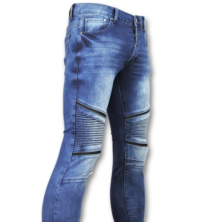New Stone Biker denim jeans herren  - Hosen mit löchern für männer - 3009 - Blau