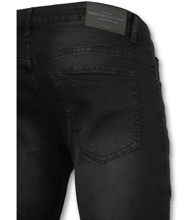 Schwarze jeans mit löchern männer | Biker röhrenjeans
