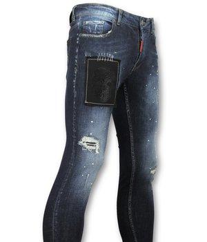 Addict Hose mit totenkopf herren - Jeans mit rissen männer - 052 - Blau