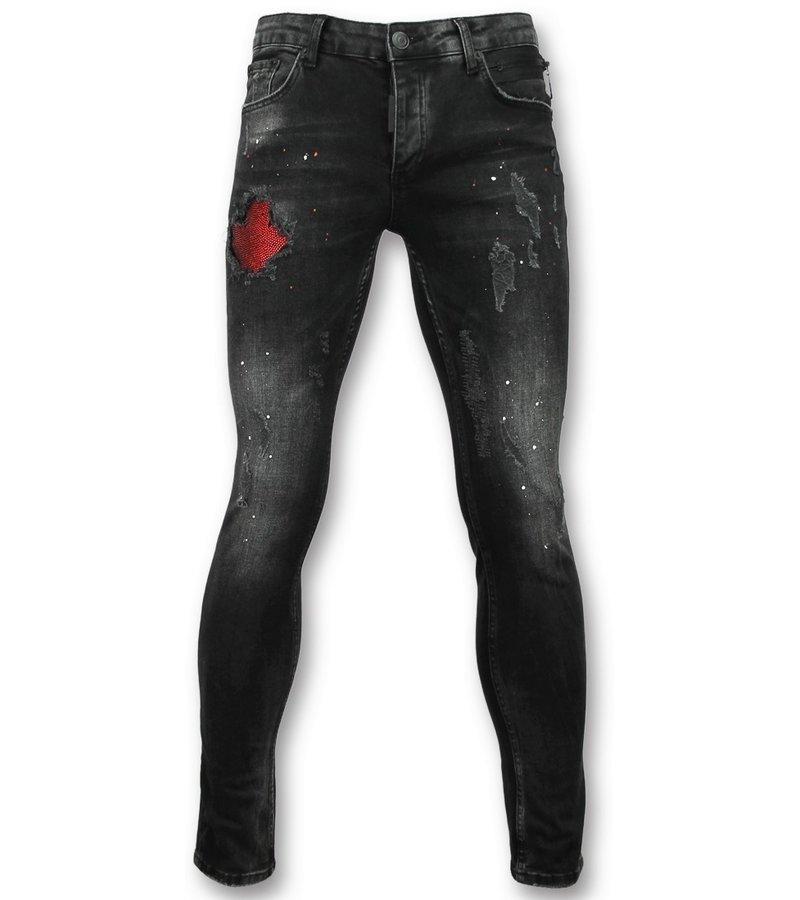 Addict Black skinny jeans herren - Schwarze jeans männer - 058
