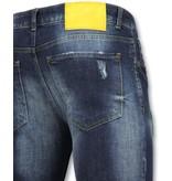 Addict Jeans mit bunten patches - Hose mit farbspritzern - 056 - Blau