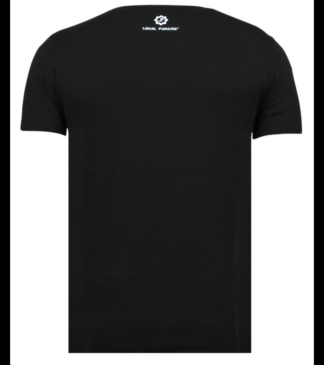 Local Fanatic Tupac Shakur Thug Life - Shirt Mit Glitzersteinen - 6345Z - Schwarz