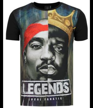 Local Fanatic Christopher 2PAC Legends - Shirt Mit Glitzersteinen - 6285Z - Schwarz