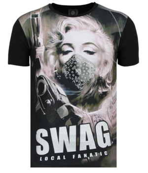 Local Fanatic Marilyn Monroe SWAG - Shirt Mit Strasssteinen - 6347Z - Schwarz