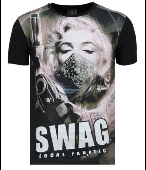 Local Fanatic Marilyn Monroe SWAG - Shirt Mit Strasssteinen - 6347Z - Schwarz