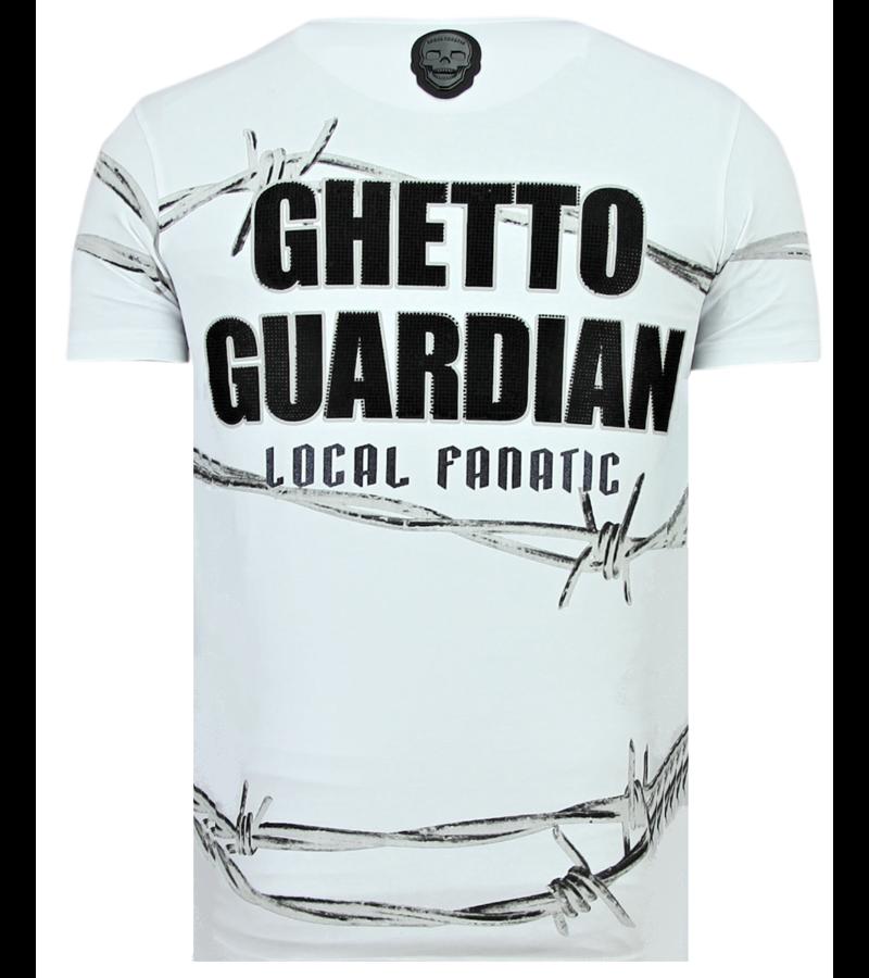 Local Fanatic Bad Angel Rhinestones - Coole T-Shirt Männer - 6318W - Weiß