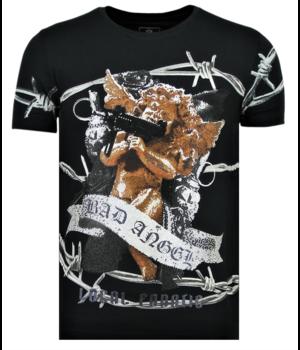 Local Fanatic Rhinestones Bad Angel - Männer Coole T-Shirt - 6318N - Marine