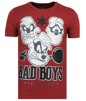 Local Fanatic Rhinestones Beagle Boys - Shirt Mit Glitzersteinen - 6319B - Bordeaux
