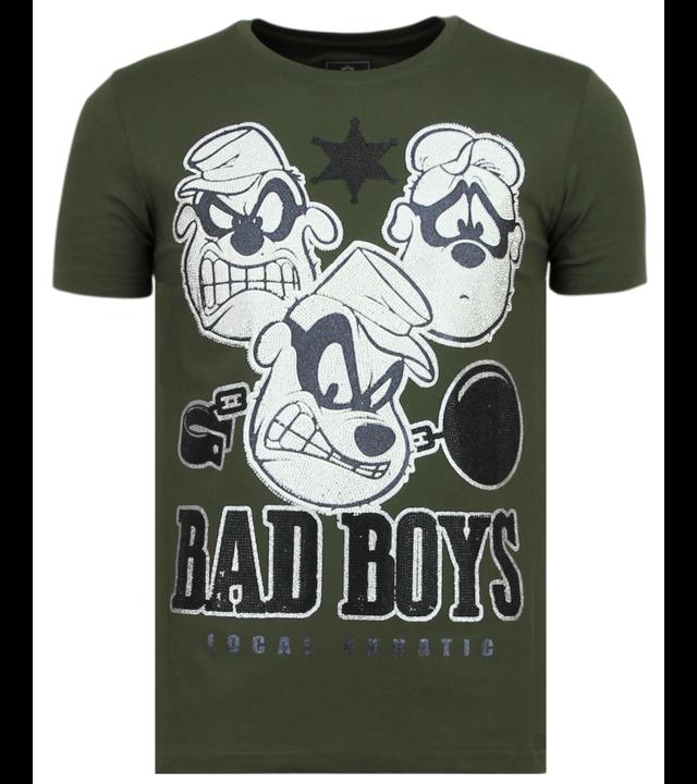 Local Fanatic Coole Beagle Boys - Shirt Mit Glitzersteinen - 6319G - Grün