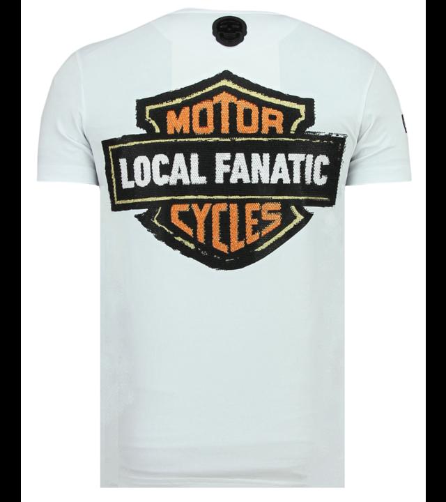 Local Fanatic Dynamite Coyote Rhinestones - Nettes T-Shirt Männer - 6320W - Weiß