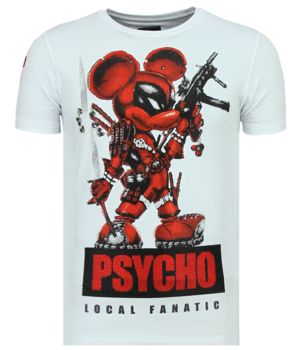 Local Fanatic Psycho Mouse Rhinestones - T shirt Mit Strass - 6321W - Weiß