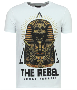 Local Fanatic Rebel Pharaoh Rhinestones - Exklusives Herren T-Shirt - 6322W - Weiß