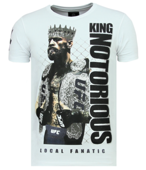 Local Fanatic King Notorious Rhinestones - Luxus T-Shirt Herren - 6324W - Weiß