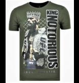 Local Fanatic King Notorious Rhinestones - Sommer T-Shirt Männer - 6324G - Grün