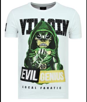 Local Fanatic Villain Duck Rhinestones - Schönes T-Shirt Männer - 6325W - Weiß