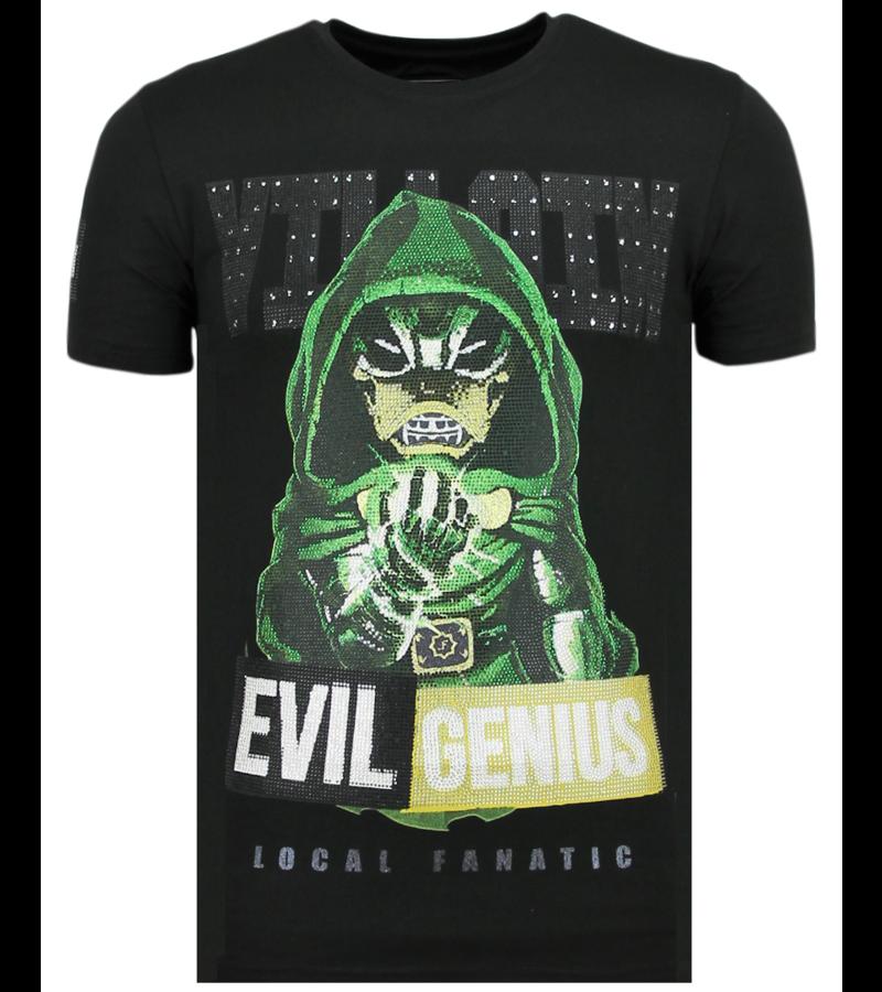 Local Fanatic Villain Duck Rhinestones - Witzig T-Shirt Herren - 6325Z - Schwarz