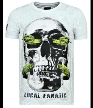 Local Fanatic Skull Snake Rhinestones - T shirt Totenkopf Herren - 6326W - Weiß