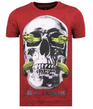 Local Fanatic Skull Snake Rhinestones - Skull T-shirt Herren - 6326B - Bordeaux