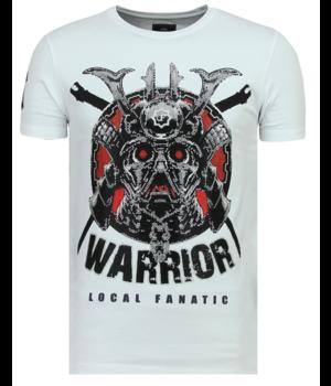 Local Fanatic Savage Samurai Rhinestones - Cooles T-Shirt Männer - 6327W - Weiß