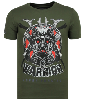 Local Fanatic Savage Samurai Rhinestones - Männer Cooles T-Shirt - 6327G - Grün