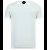 Local Fanatic Skull Glitters Rhinestones - T shirt Totenkopf Glitzer - Weiß