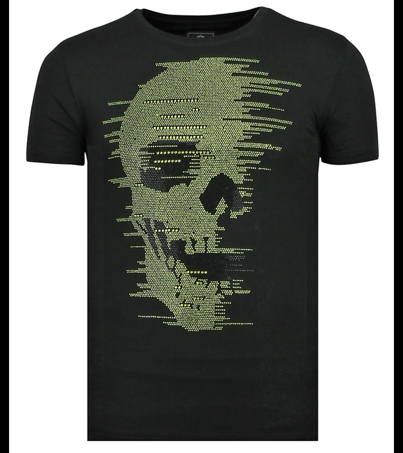 Local Fanatic Rhinestones Skull Glitters - T shirt Totenkopf Glitzer - 6338Z  - Schwarz