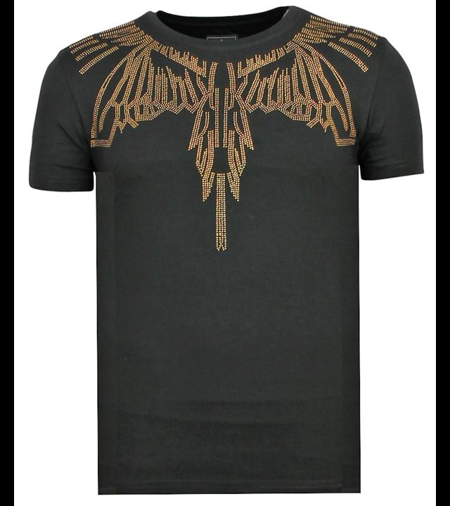 Local Fanatic Eagle Glitter Rhinestones - Shirt Mit Strasssteinen Herr - 6359Z - Schwarz