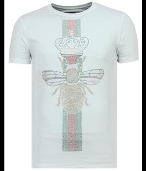Local Fanatic King Fly Glitzer - Shirt Mit Strasssteinen - 6360W - Weiß
