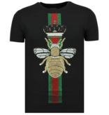 Local Fanatic Rhinestones King Fly Glitzer - Shirt Mit Strasssteinen - 6360Z - Schwarz