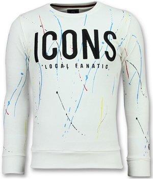 Local Fanatic ICONS Painted Color - Sweatshirt Für Herren - 6341W - Weiß