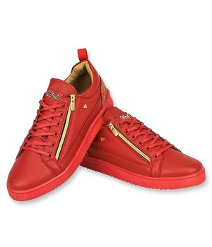 Cash Money Rote Herren Turnschuhe - Herren Cesar Red Gold - Rot