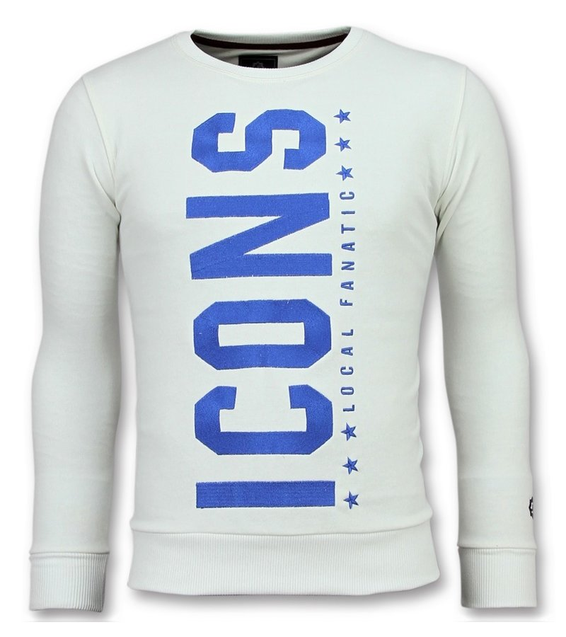 Local Fanatic ICONS  Vertical Sweater - Herren Pullover Sale - 6353W - Weiß