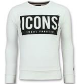 Local Fanatic ICONS Block Sweater - Sweatshirt Herren Günstig - 6355W - Weiß