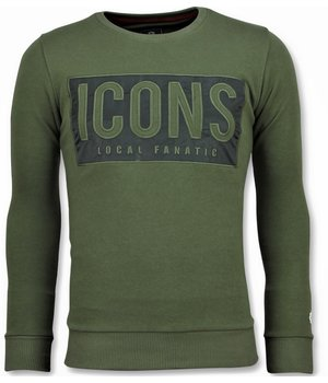 Local Fanatic ICONS Block Sweater - Männer Sweatshirt Günstig - 6355G - Grün