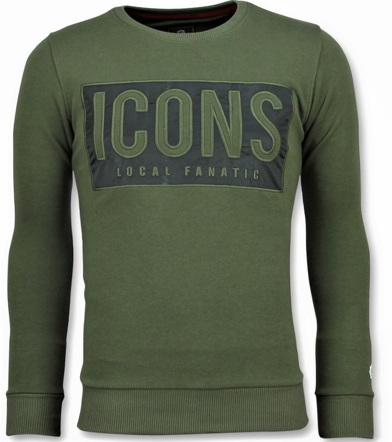 Local Fanatic ICONS Block Sweater - Männer Sweatshirt Günstig - 6355G - Grün